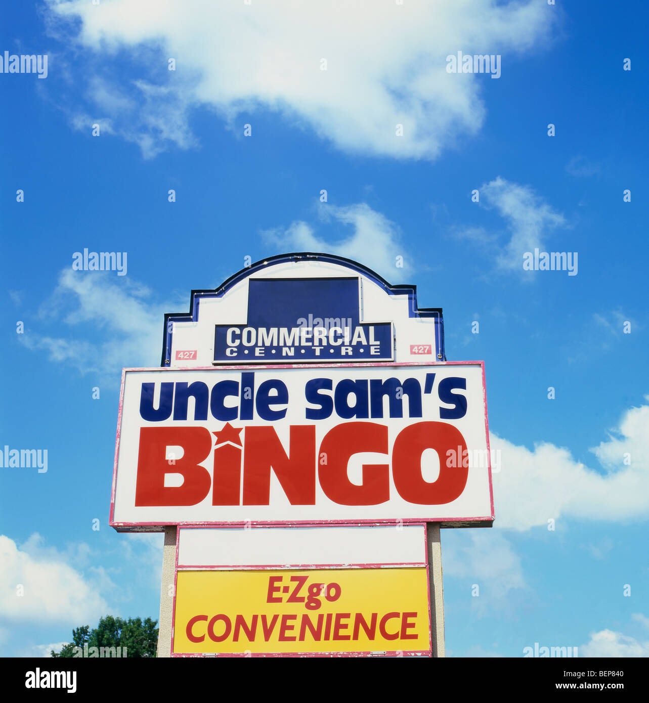 Uncle Sams Bingo Sign Fort Erie Mall Ontario Canada Stock Photo