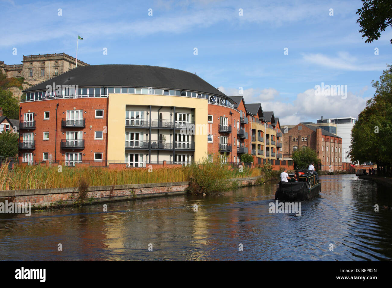 A narrowboat  on a canal in Nottingham, England, U.K. - Stock Image