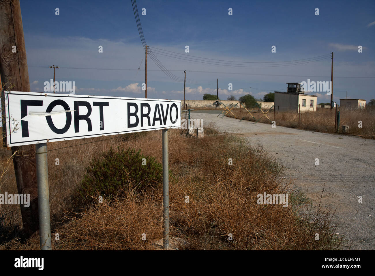 fort bravo former british military base now in the UN buffer zone in the green line dividing north and south cyprus - Stock Image