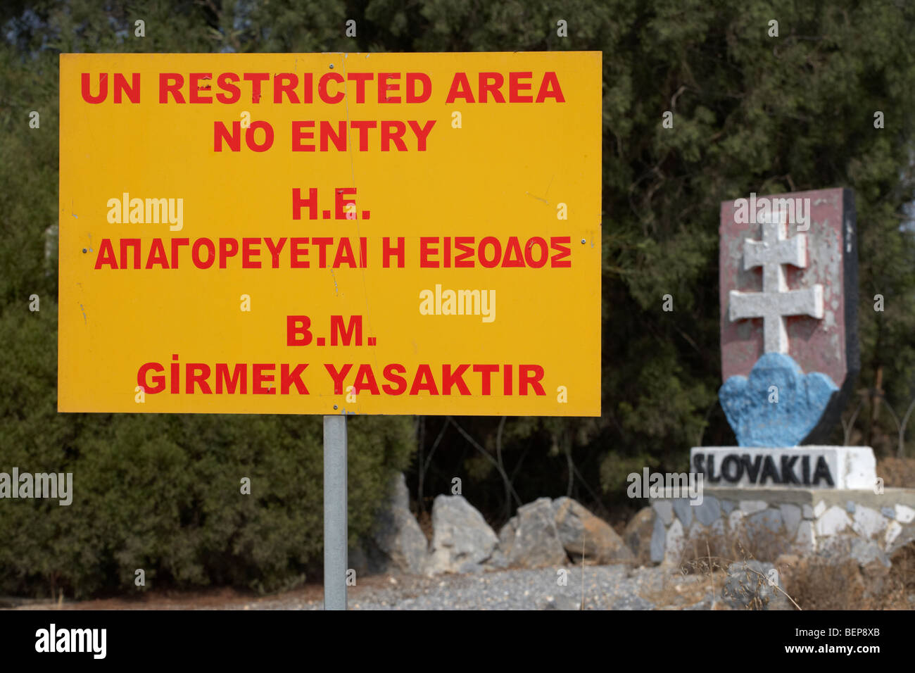 UN restricted area in the buffer zone in the green line dividing north and south cyprus housing slovakian troops - Stock Image