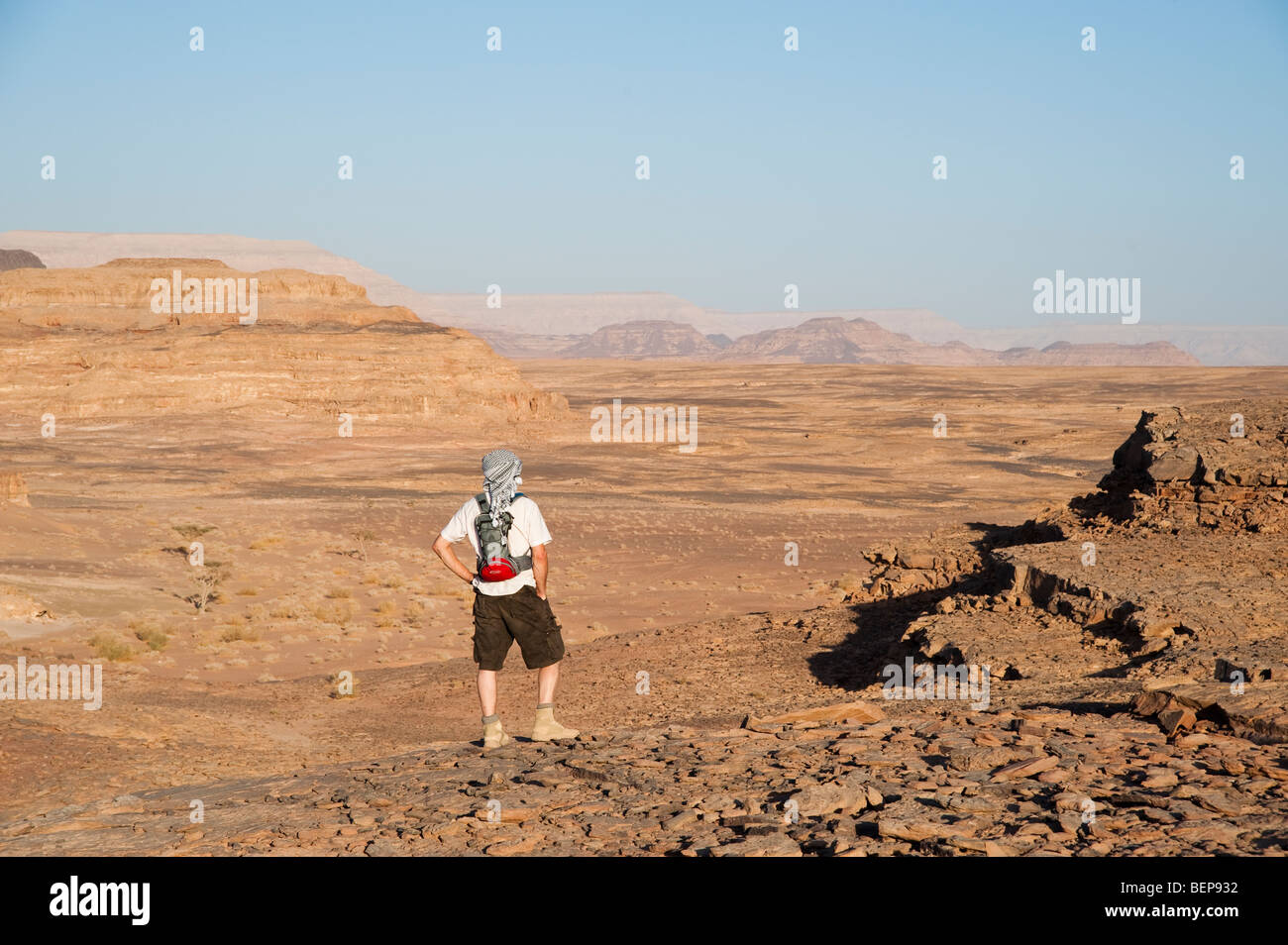 A man looking across the desert landscape in Sinai Egypt - Stock Image