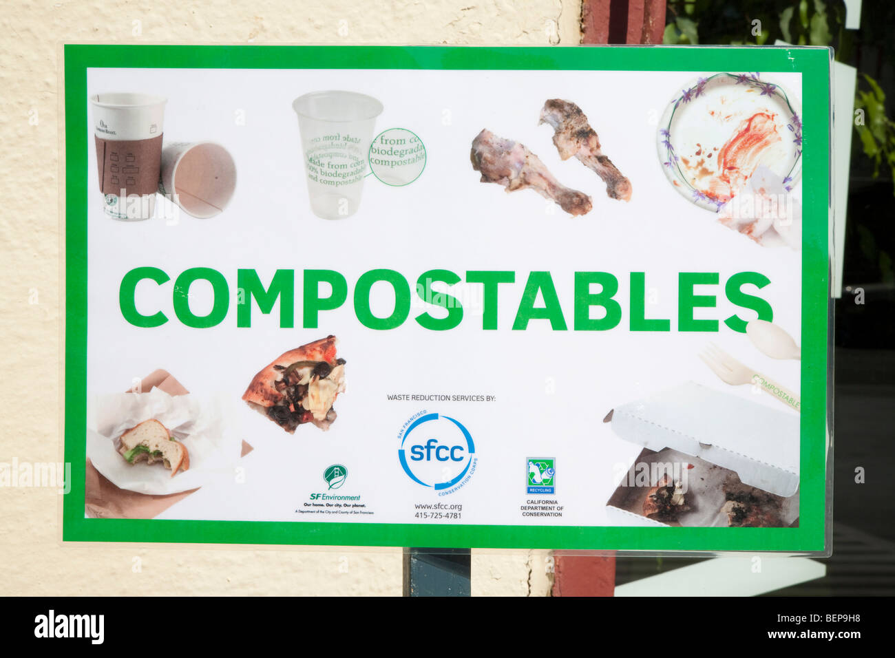 Compostables  composting sign showing recyclable materials - food waste paper cups bio plastics paper plates etc.  sc 1 st  Alamy & Compostables