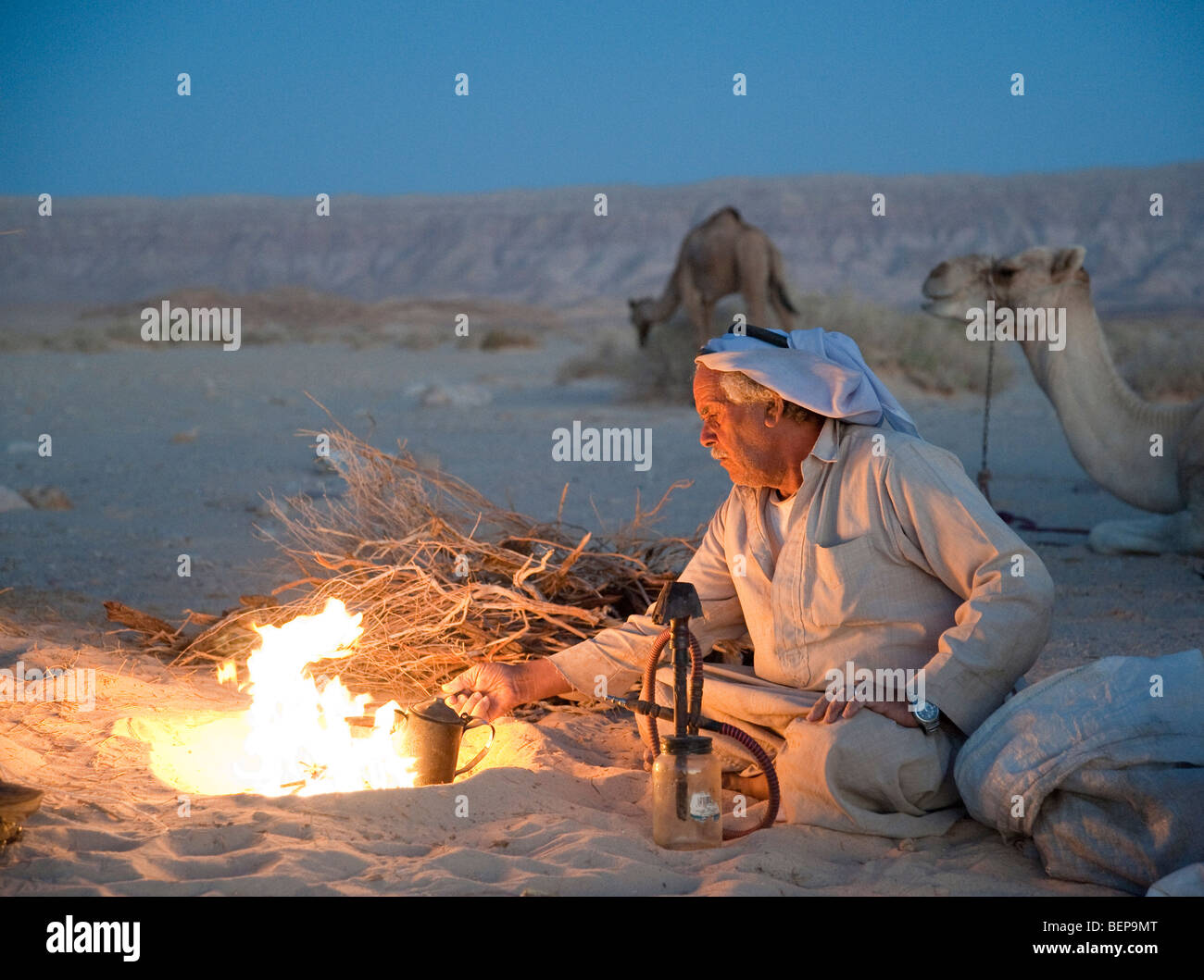 A Bedouin sets up camp for the night and makes a fire to cook on in the Sinai Desert in Egypt - Stock Image