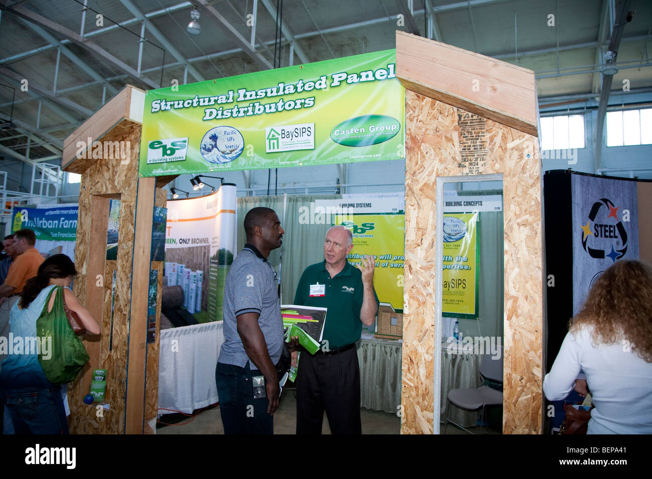Structural insulated panels exhibit booth promoting building energy