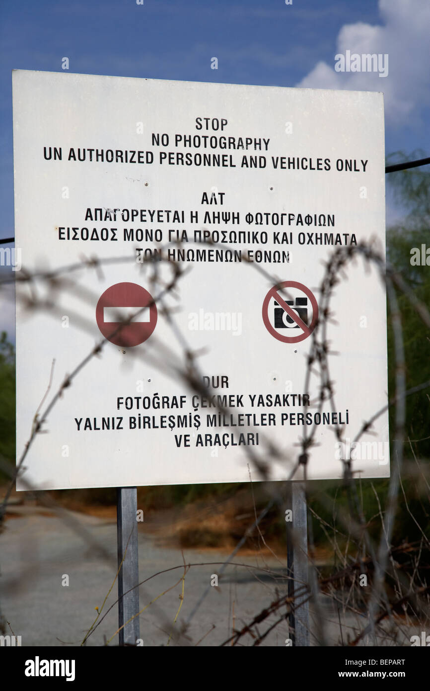 stop no photographs of restricted area of the UN buffer zone in the green line dividing north and south cyprus in - Stock Image