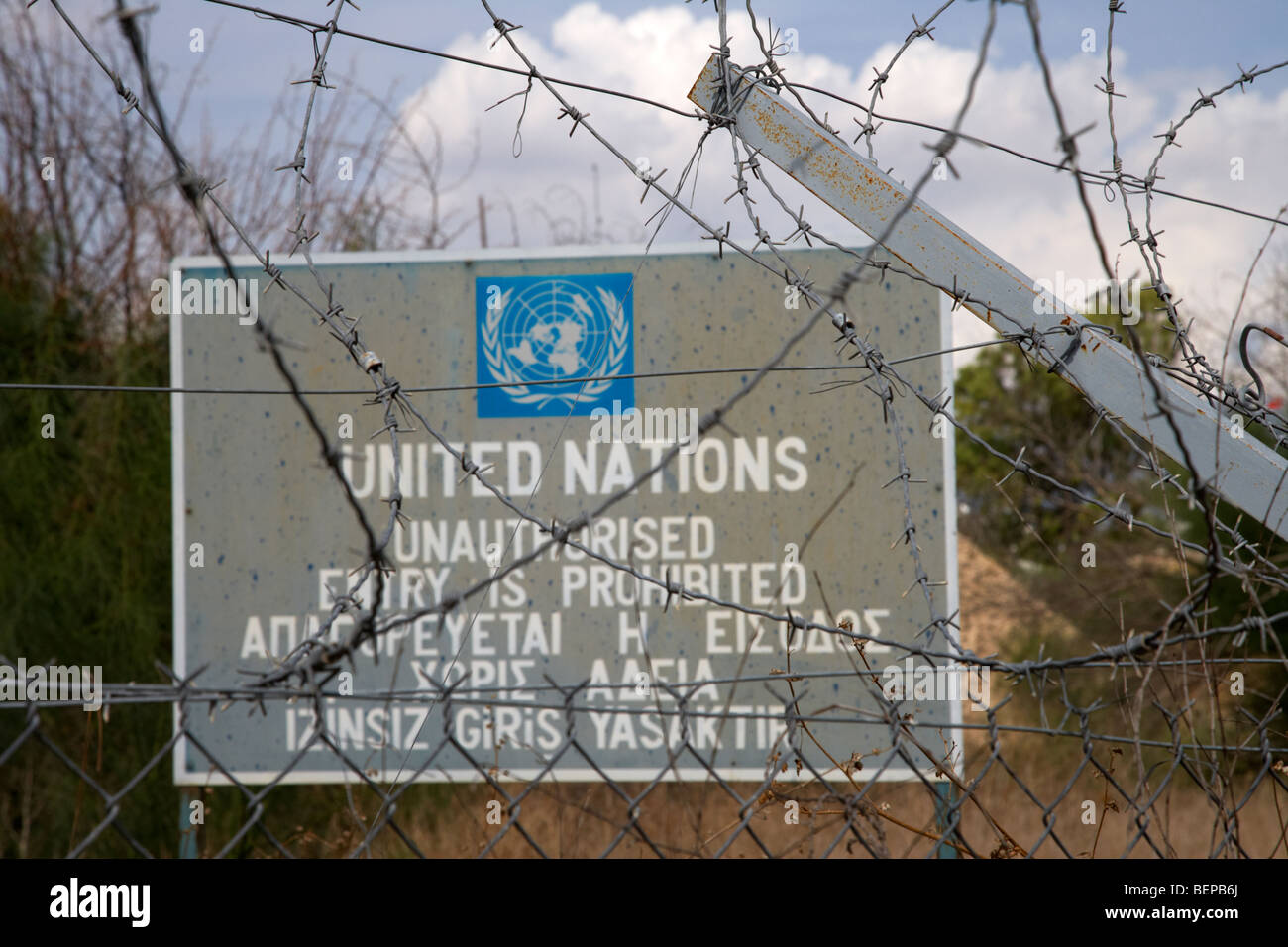 Restricted area of the UN buffer zone in the green line dividing north and south cyprus in nicosia lefkosia - Stock Image