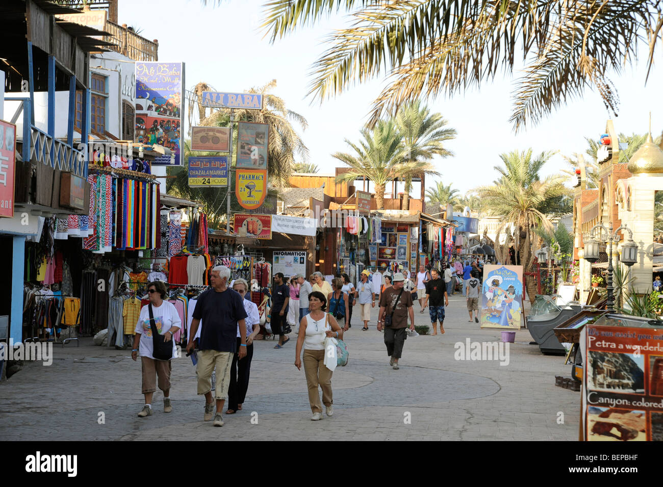 Tourists in Dahab in Egypt - Stock Image
