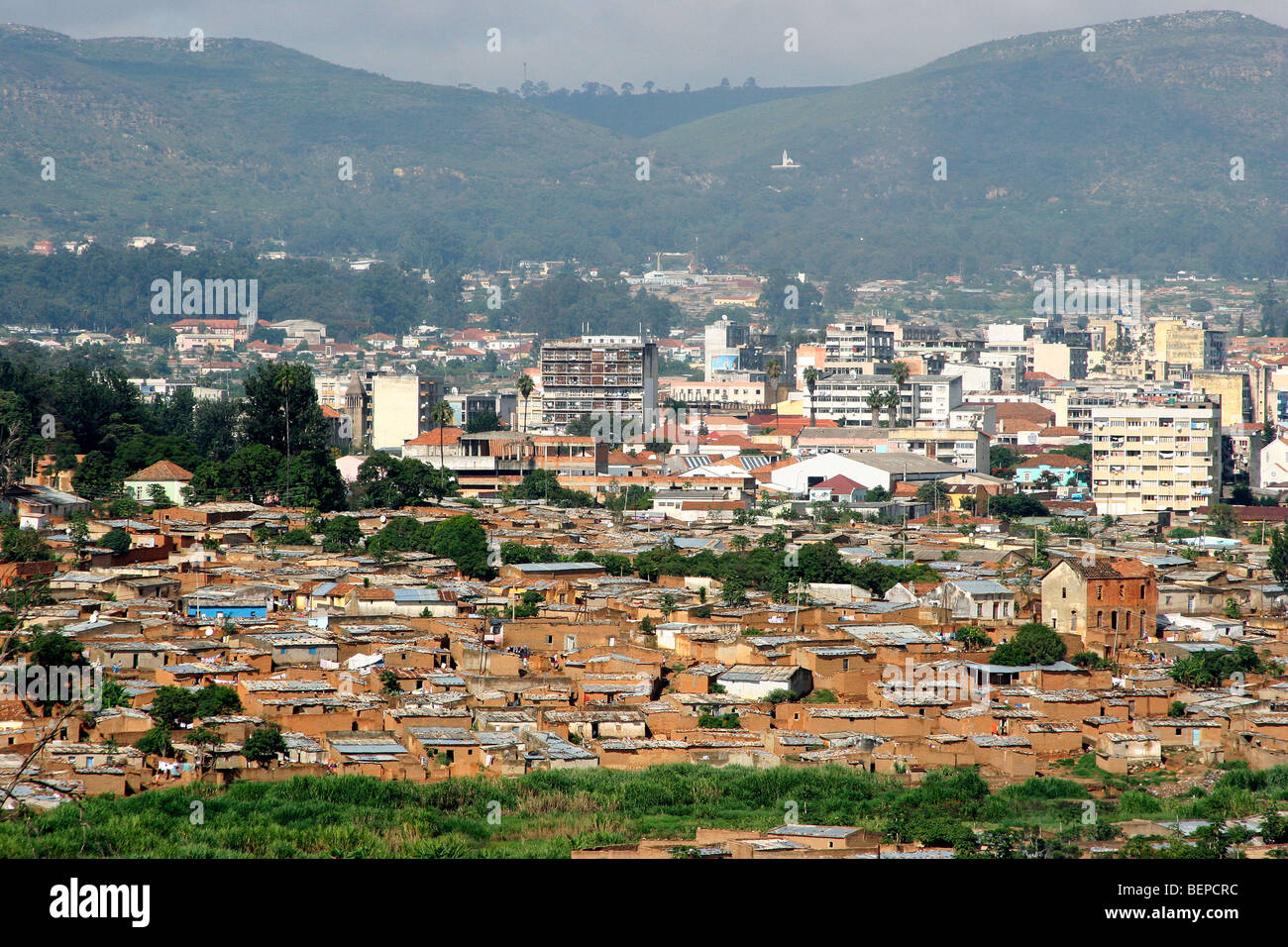 View over houses of suburb and the city Lubango, Angola, Southern Africa - Stock Image