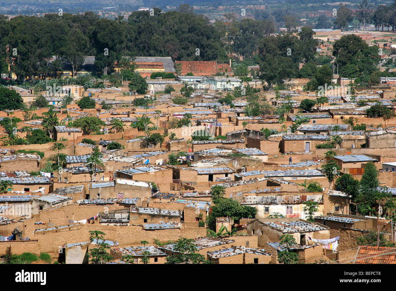 View over houses of the suburb of the city Lubango, Angola, Southern Africa - Stock Image