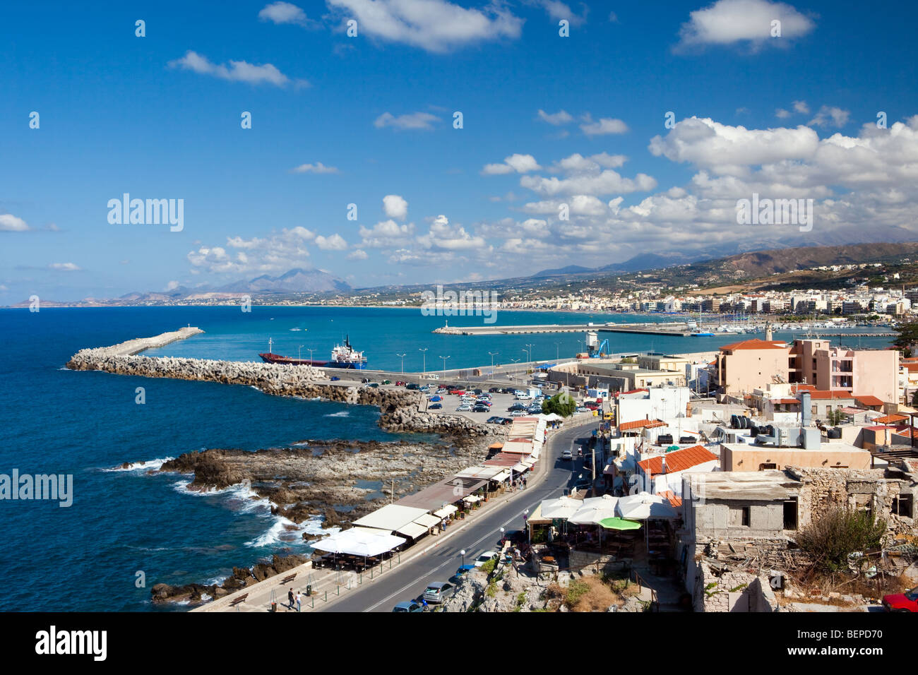 Kind on the city of Rethymno from a fortress Fortezza Stock Photo