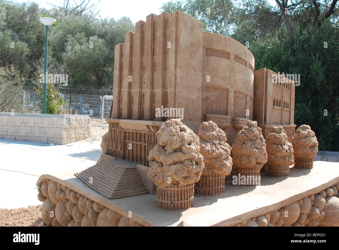 Tel Aviv, Centennial celebrations, sand sculptures of famous buildings and landmarks Habima Theatre from 1934 - Stock Image