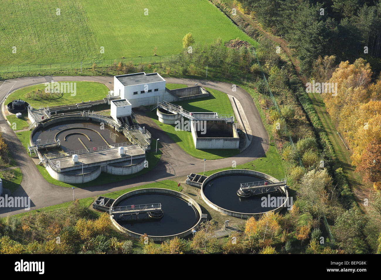 Aerial view over water treatment plant, Belgium - Stock Image