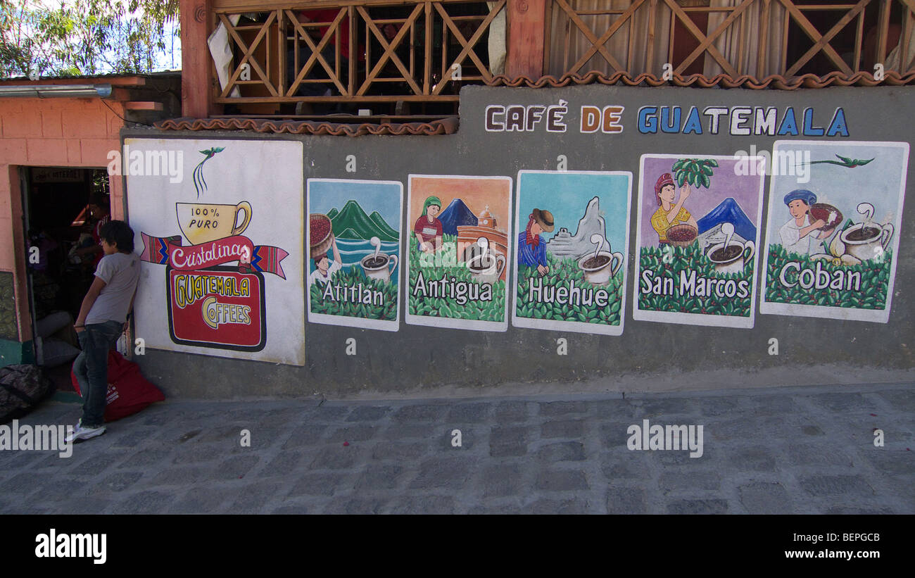 GUATEMALA, San Pedro La Laguna Posters advertizing coffee - Stock Image
