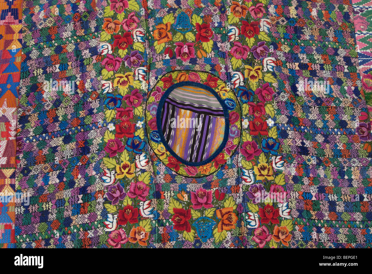 GUATEMALA  Market at Santiago de Atitlan, Detail of a huipil, or woman's blouse with intricate embroidery on - Stock Image