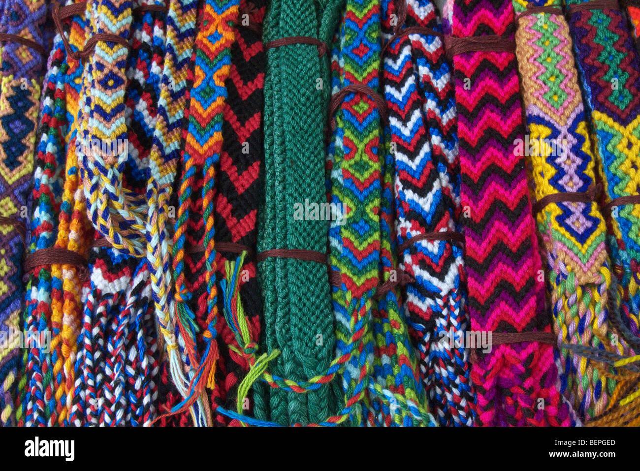 GUATEMALA Woven bracelets on sale in santiago de Atitlan. PHOTO BY SEAN SPRAGUE 2009 - Stock Image