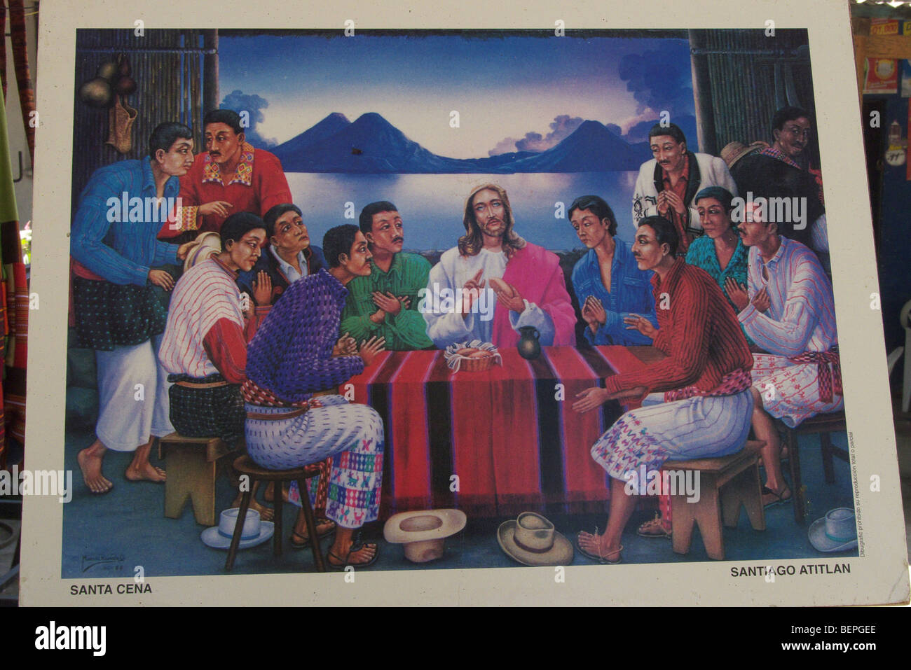 GUATEMALA The Last Supper, a painting seen in a shop in Santiago de Atitlan. PHOTOGRAPH BY SEAN SPRAGUE 2009 - Stock Image
