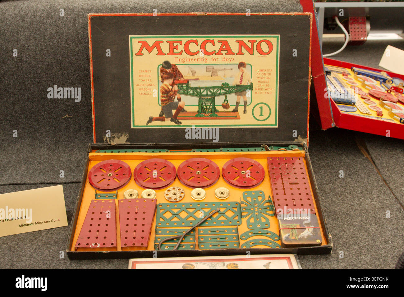an original boxed set of meccano - Stock Image