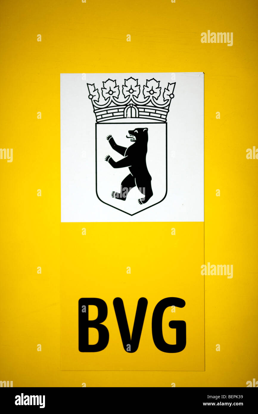 Coat of arms of the city and the acronym BVG (Berliner Verkehrsbetriebe), the public transportation company of Berlin, - Stock Image
