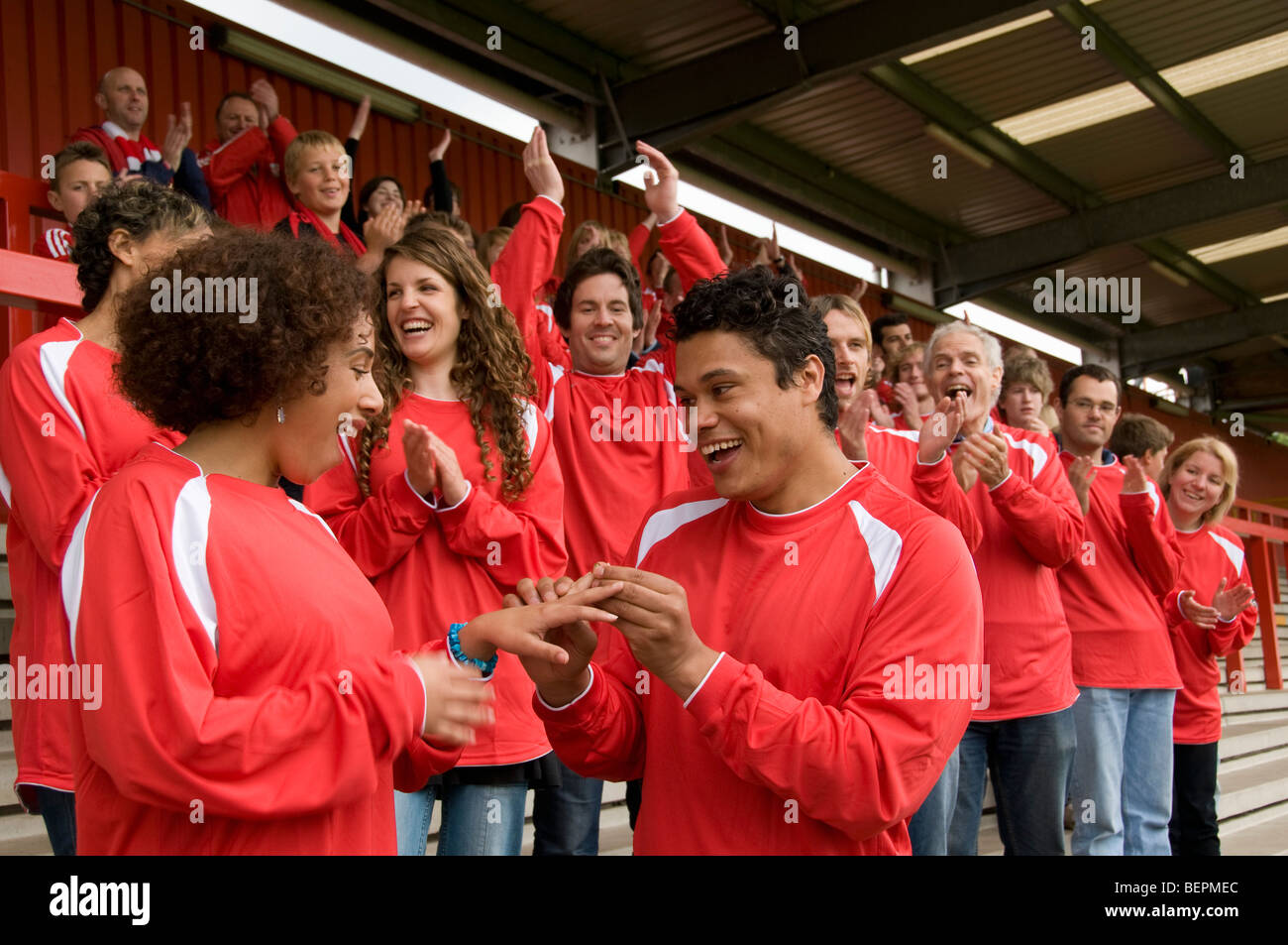 Marriage proposal at football match Stock Photo: 26314580