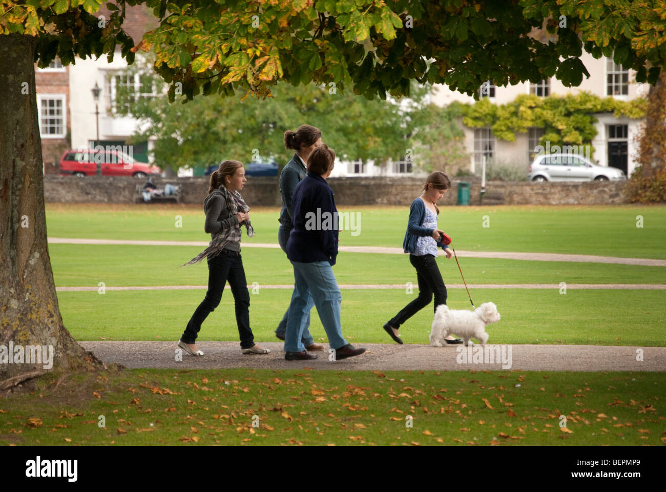 Family group young girl walking a puppy in the cathedral close in Salisbury - Stock Image
