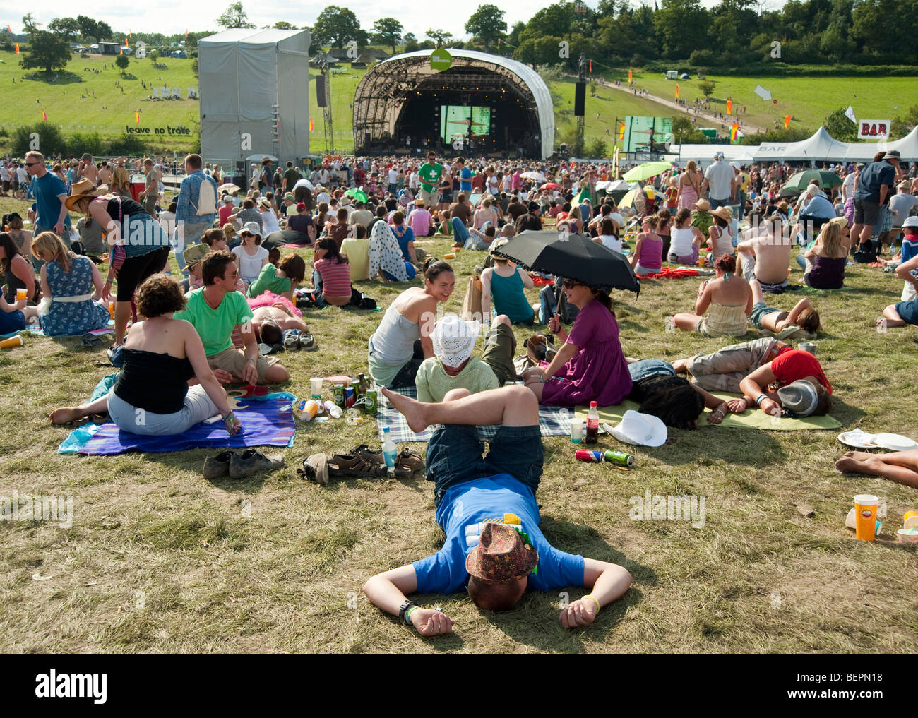 People at the Big Chill festival in Britain - Stock Image