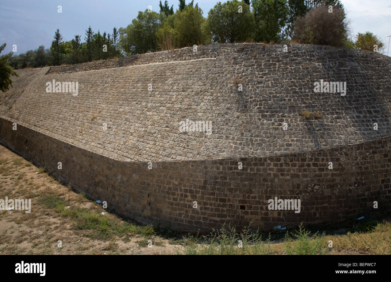 thick stone walls in the old venetian city walls at caraffa bastion in nicosia lefkosia republic of cyprus - Stock Image