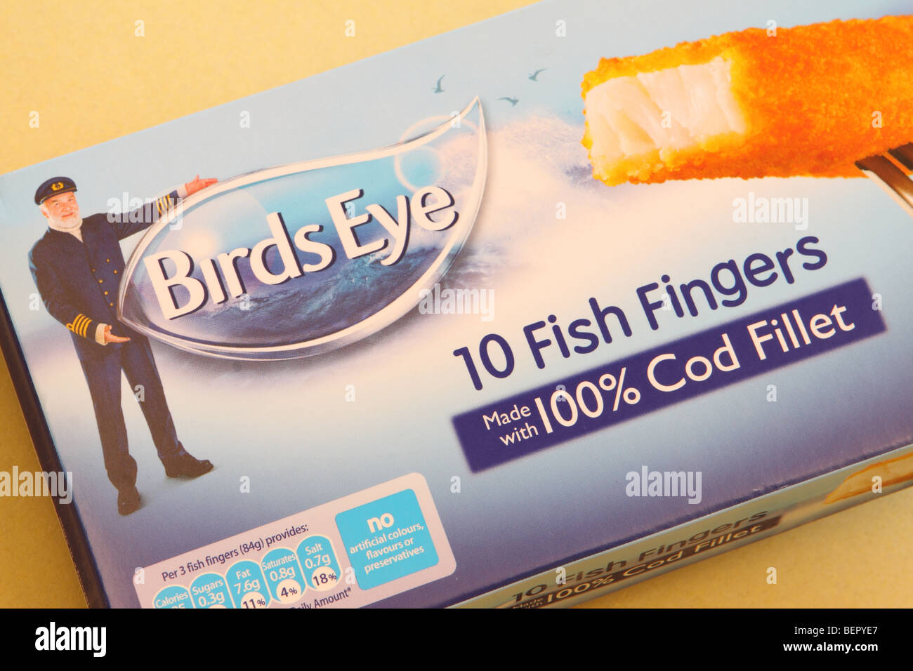Birds Eye frozen food fish fingers packet logo design and packaging - Stock Image