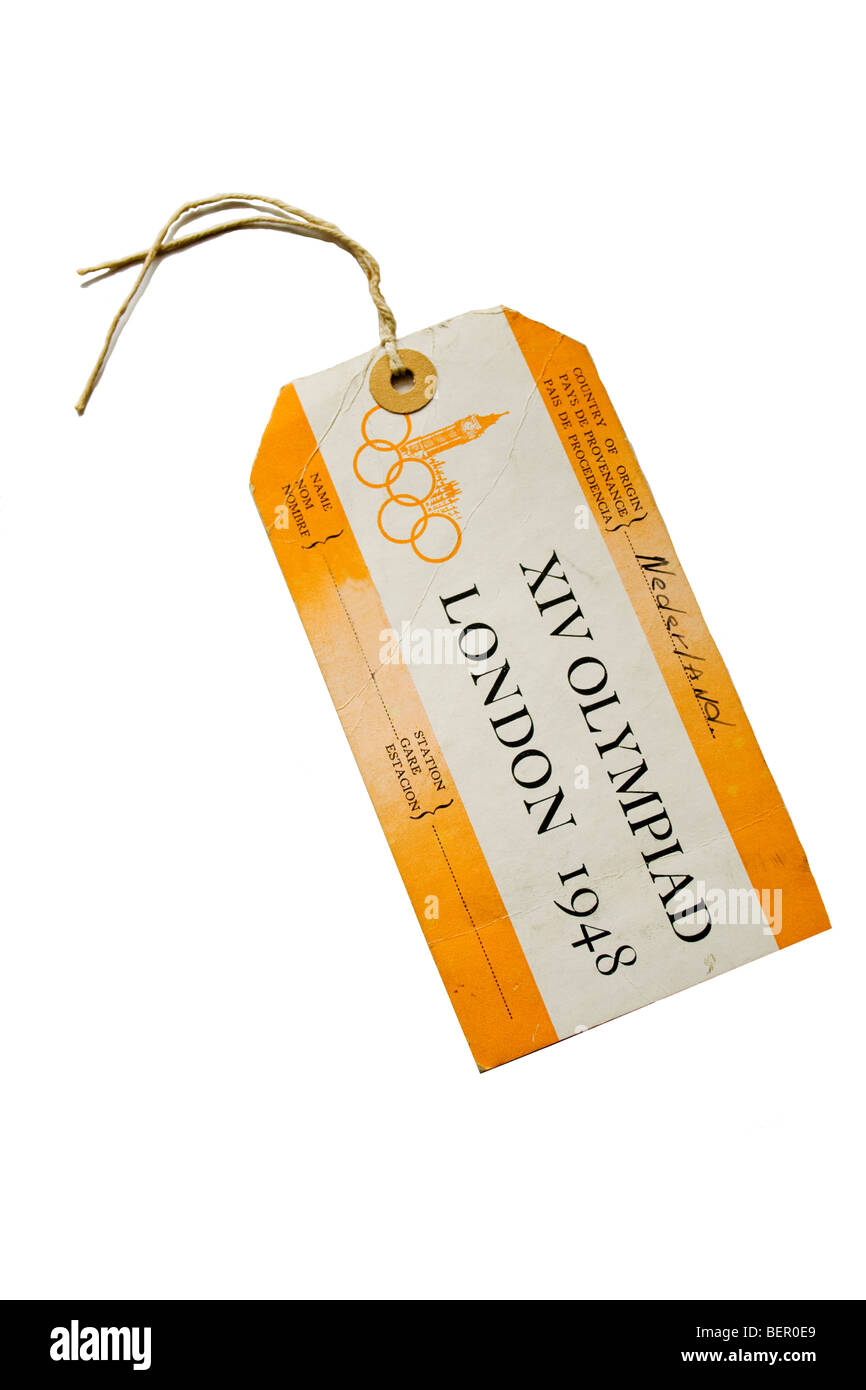 Name tag for Olympic Games in London 1948 - Stock Image