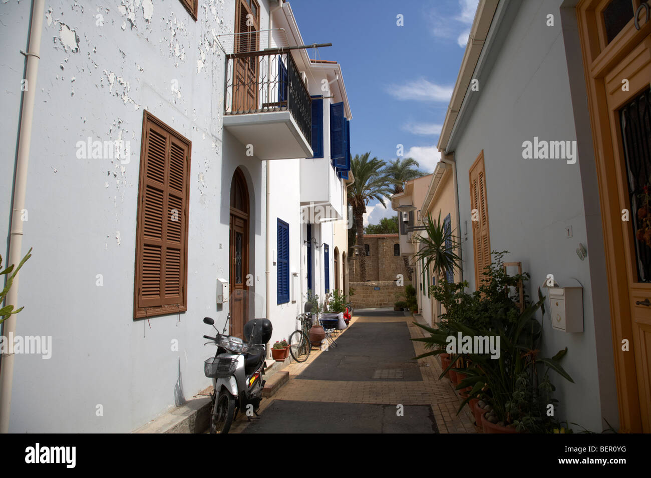 refurbished narrow city streets in old town of nicosia lefkosia republic of cyprus - Stock Image