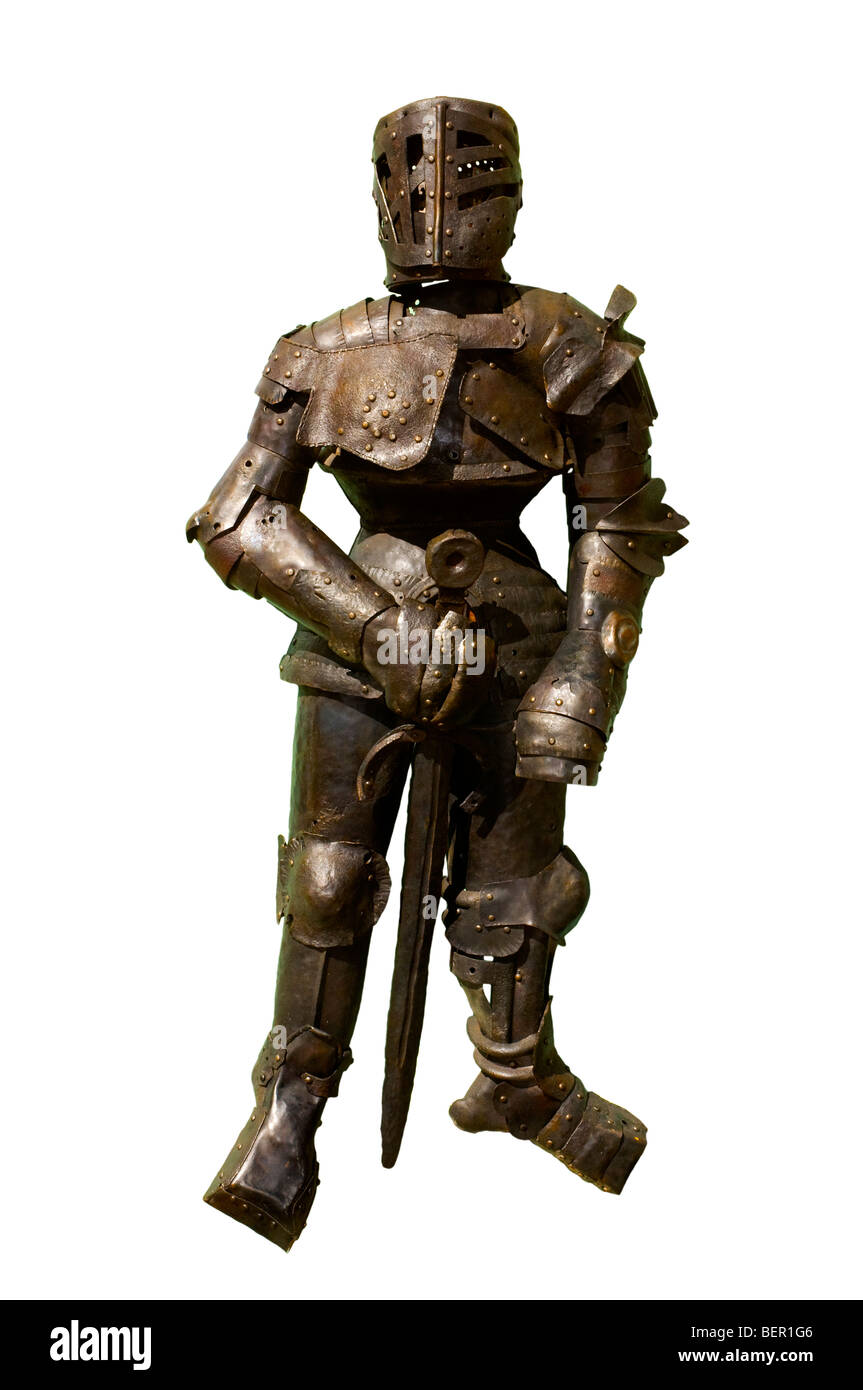 Full plate armour with sword on a white background - Stock Image
