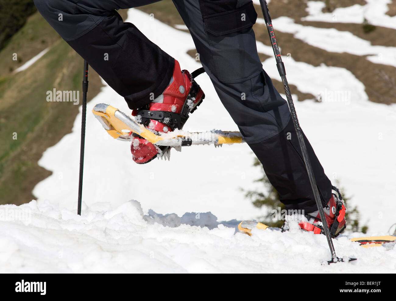 snow shoes on tour in mountains, detail - Stock Image