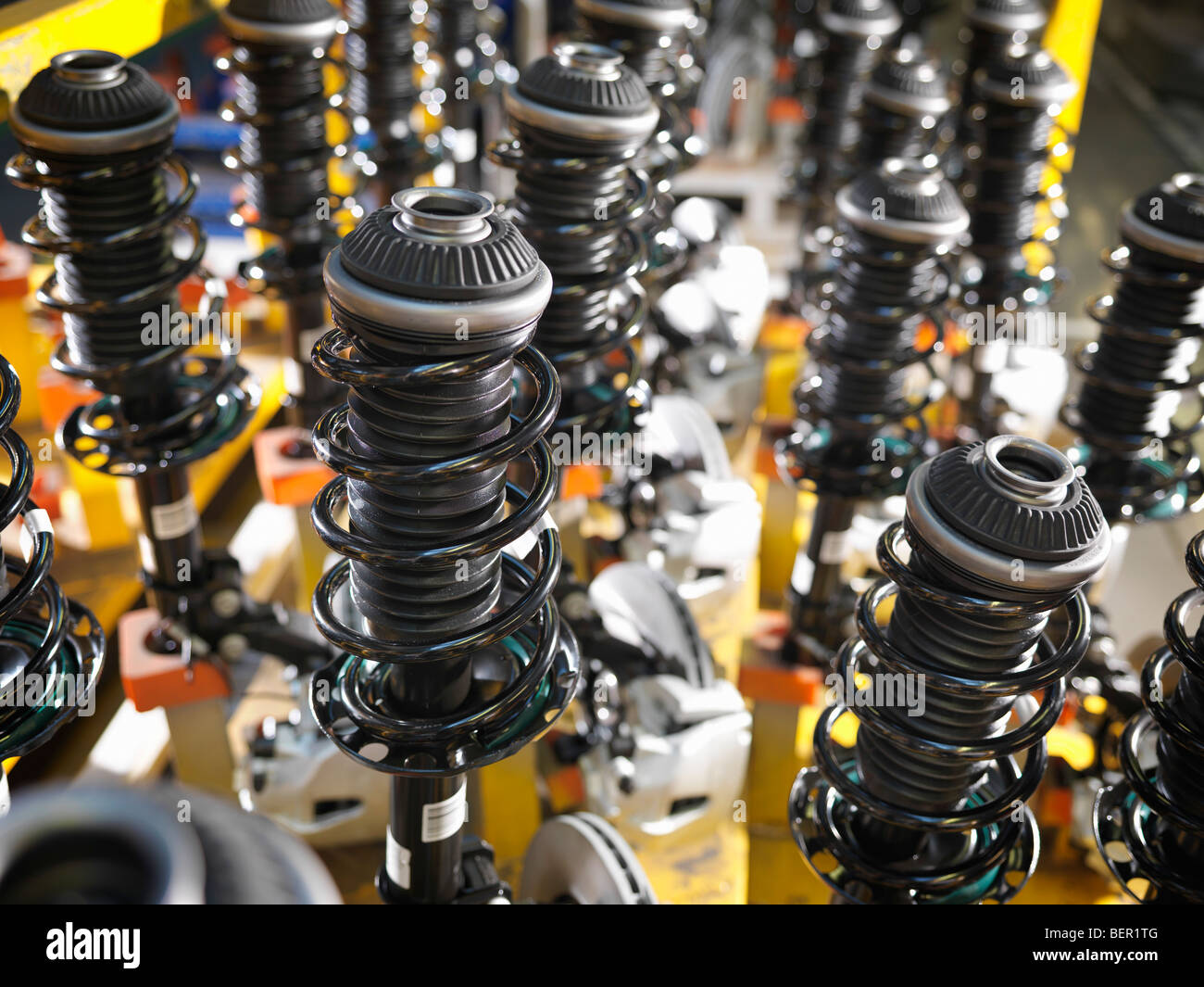 Car Parts Lined Up In Plant - Stock Image