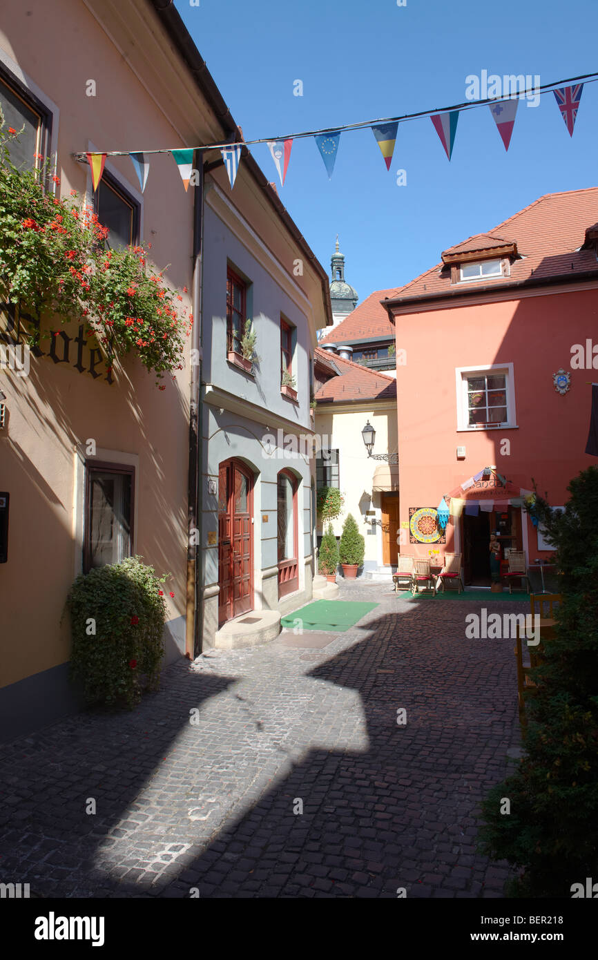 Spur Lane and the Swiss Hotel Entrance - ( Győr ) Gyor Hungary - Stock Image