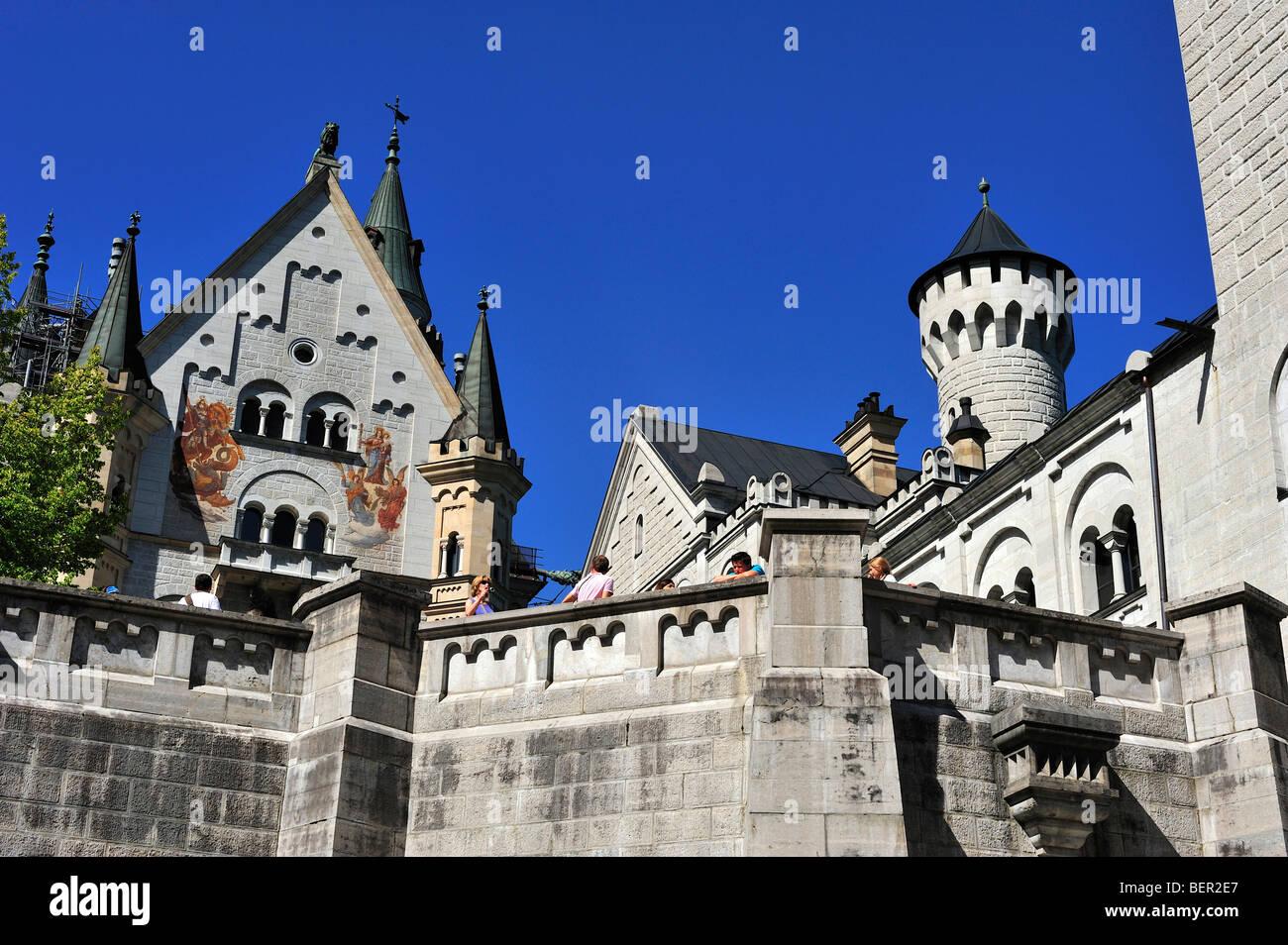 Neuschwanstein Castle, District of Ostallgäu, Bavaria, Germany - Stock Image