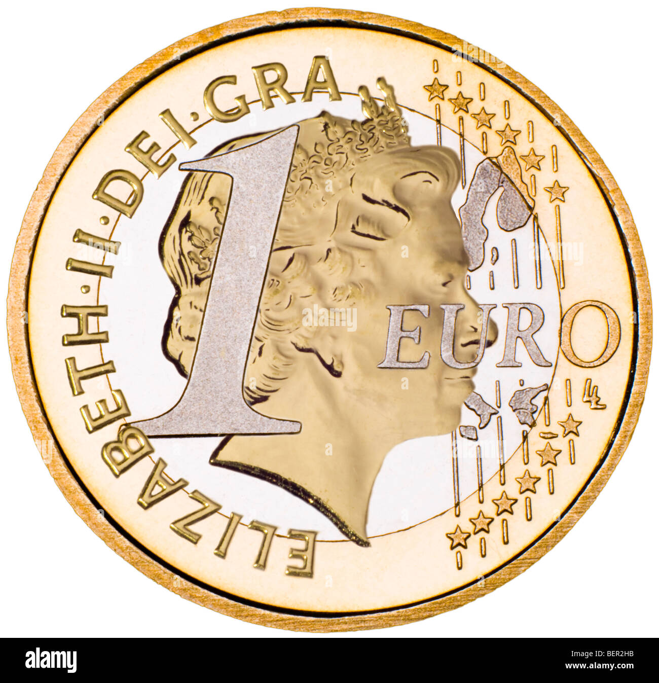 Composite One Euro / British coin (Queen's head from half sovereign) - Stock Image