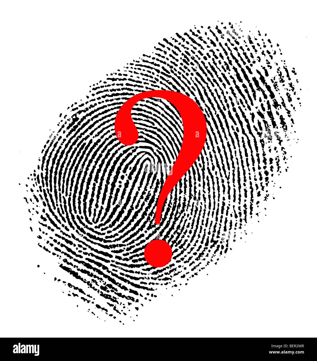 finger print with question mark - Stock Image