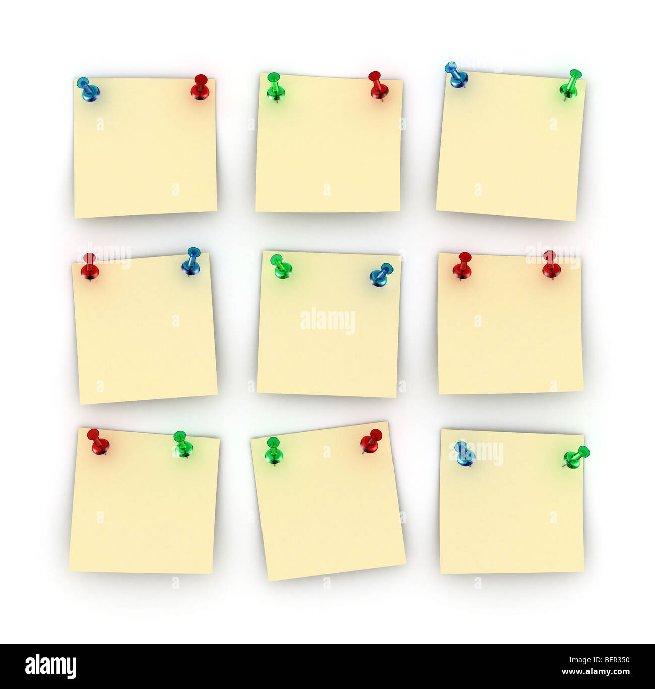 Nine Postit notes with differently colored push pins - Stock Image