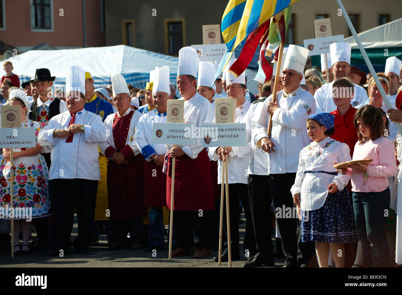 Competators at the Hungarian Regional Gastronomic Festival 2009 - Gyor ( Győr ) Hungary - Stock Image