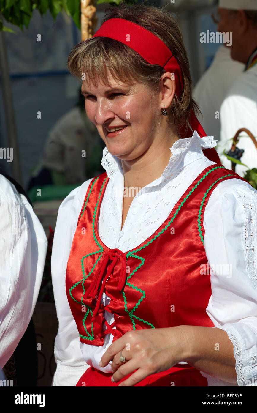 woman in Hungarian traditional regional dress - Hungary - Stock Image