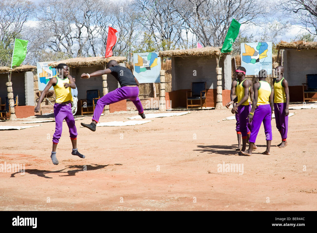 Festival entertainers at the Lwiindi celebration of Chief Mukuni in Zambia close to Livingstone. - Stock Image