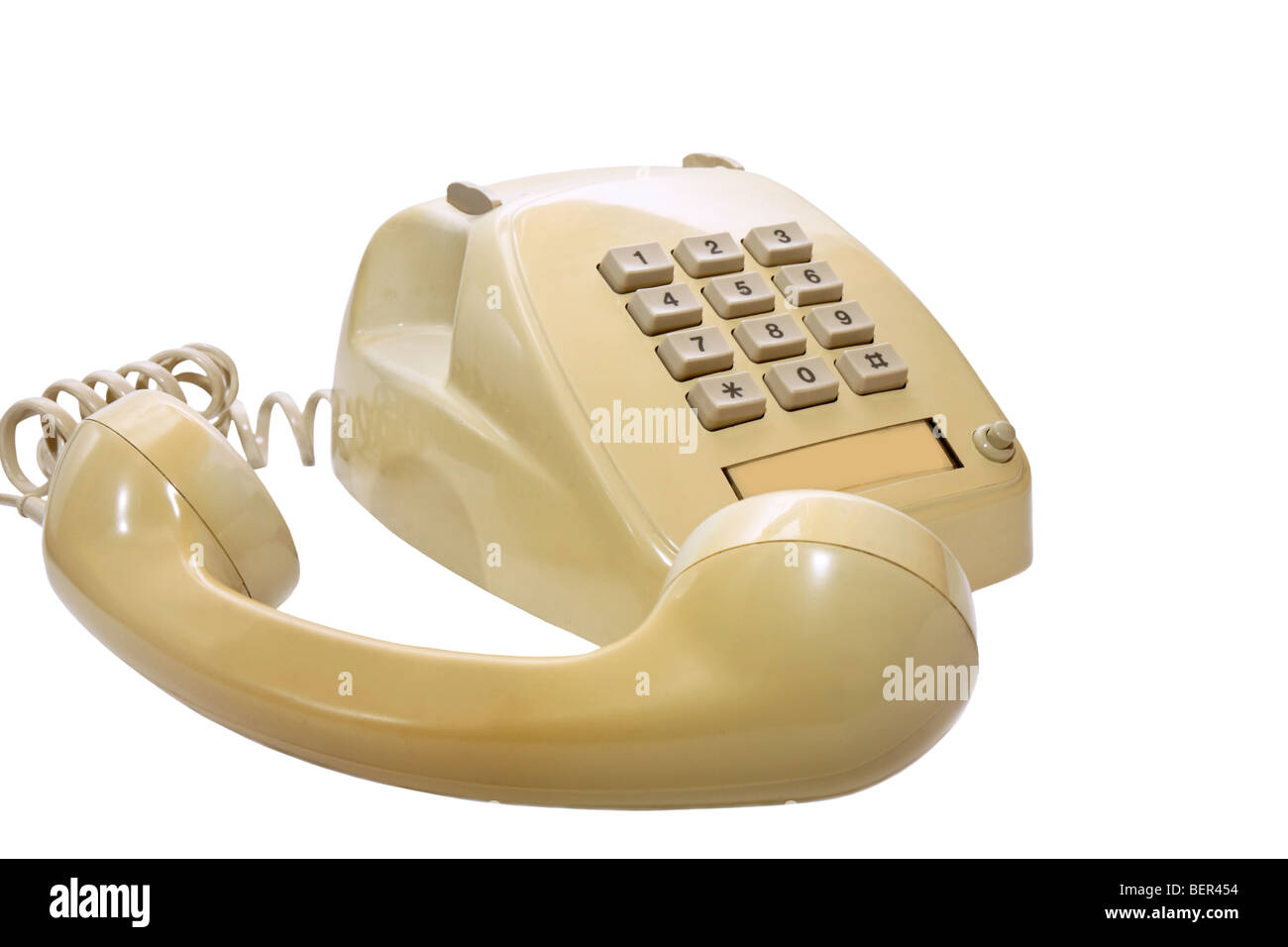 the yellow telephone with take away receiver for a  connection people Stock Photo