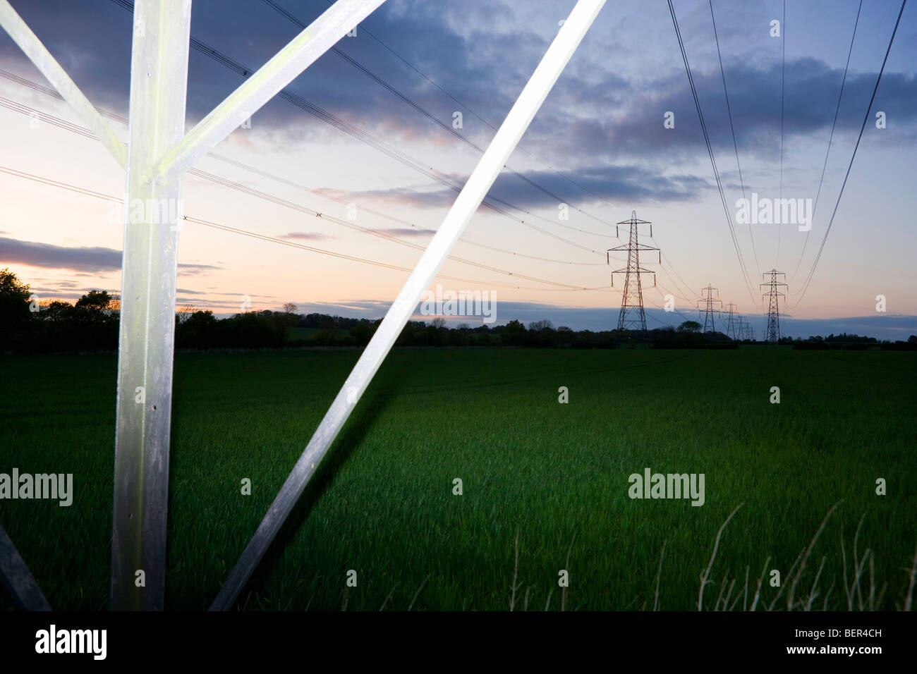 Pylons and power cables 4 - Stock Image