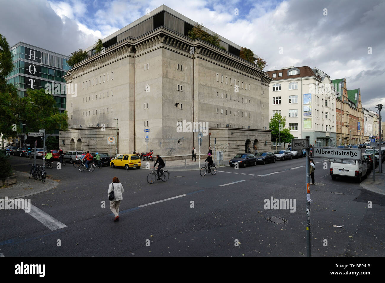 Berlin. Germany. WWII concrete bunker on Albrechtstrasse / Reinhardtstrasse now the Sammlung Boros art gallery. - Stock Image