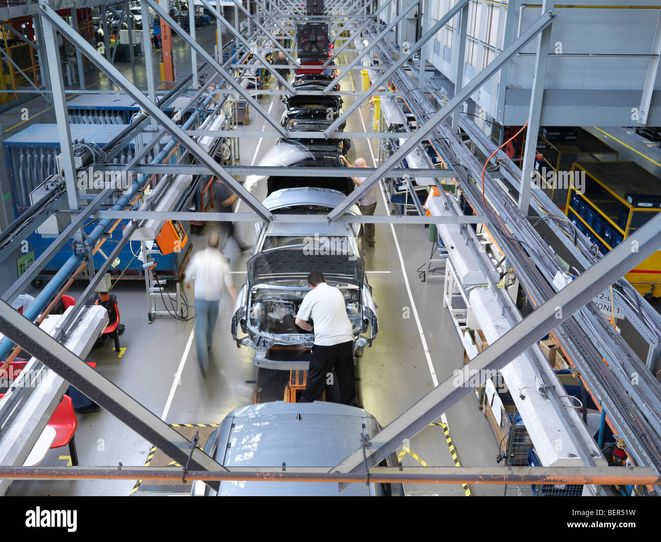 Car Plant Production Line From Above - Stock Image