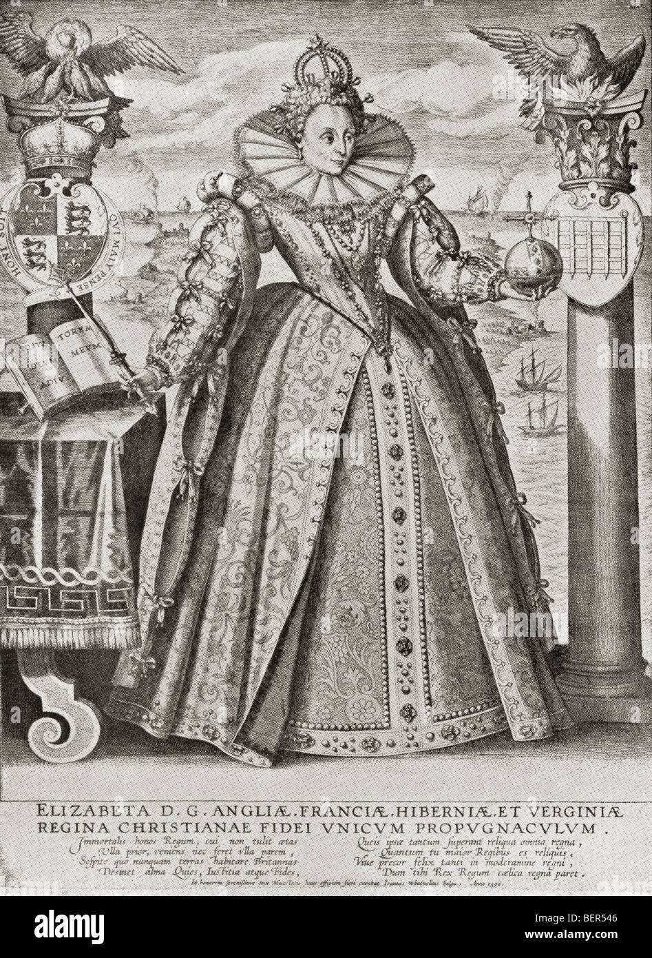 Elizabeth I, 1533 to 1603. Elizabeth depicted in 1596. Queen of England and  Ireland.