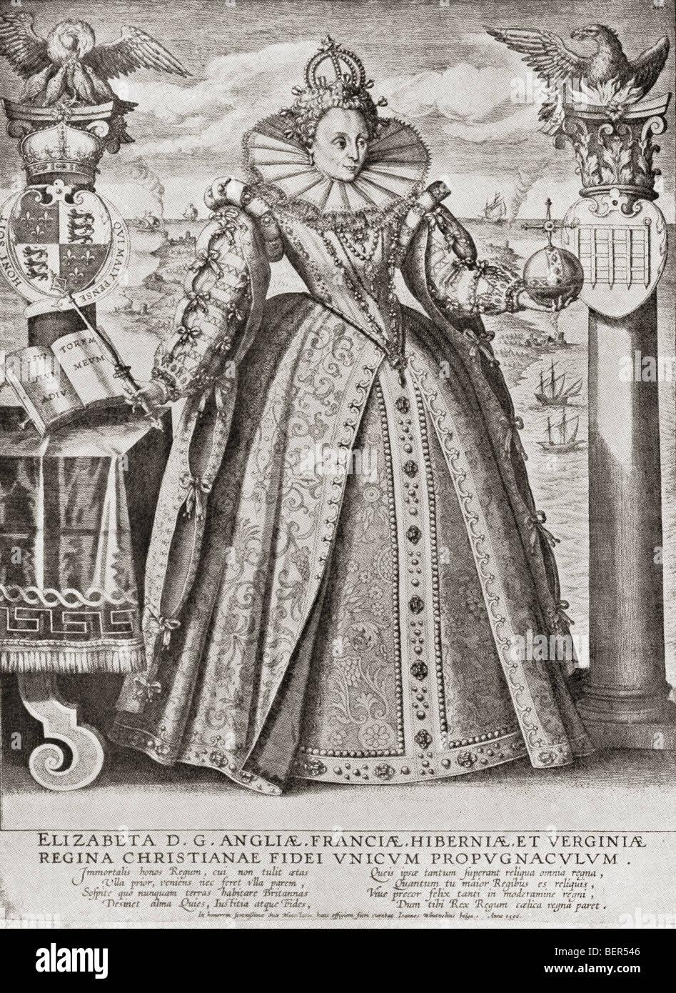 Elizabeth I, 1533 to 1603. Elizabeth depicted in 1596. Queen of England and  Ireland.