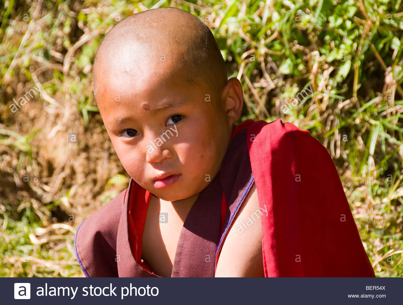 Young Buddhist Monks at a Monastery Near Punakha, Bhutan - Stock Image