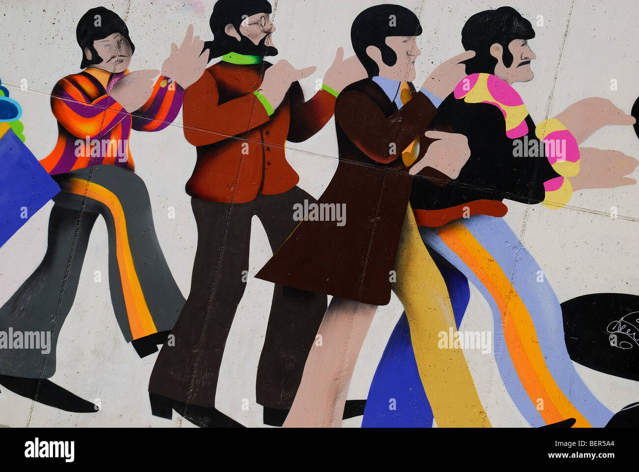Padua,Italy,a mural painting representing the Beatles in the Yellow Submarine - Stock Image