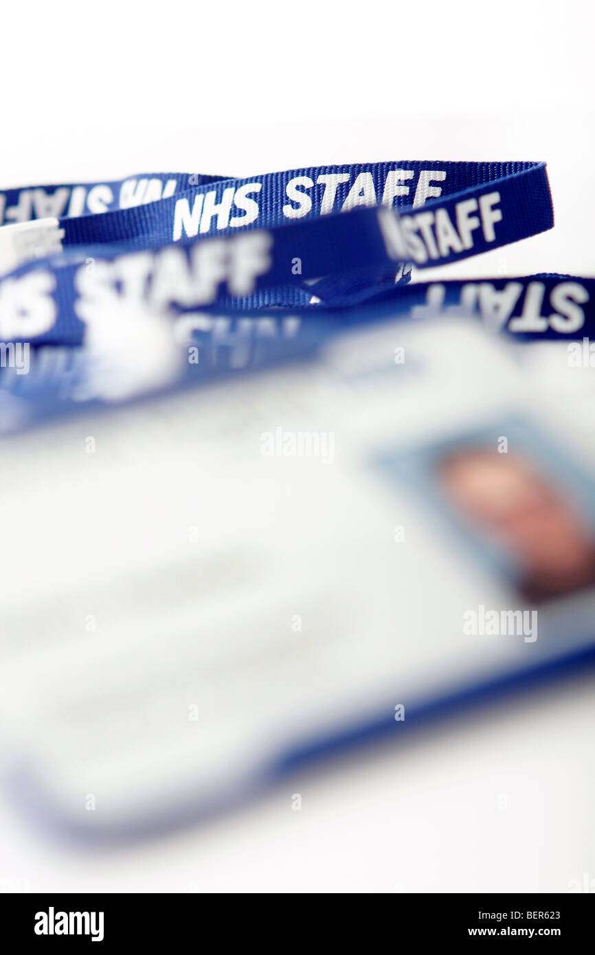 NHS staff neck chain with ID badge - Stock Image