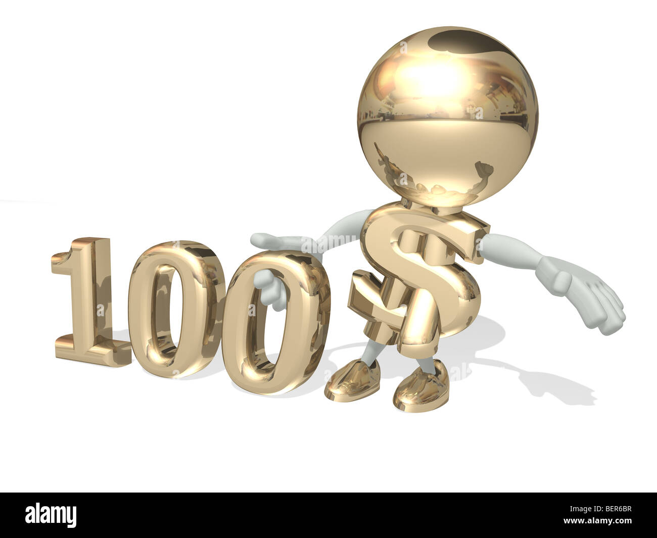 Hundred dollars, isolated 3D personage on a white - Stock Image